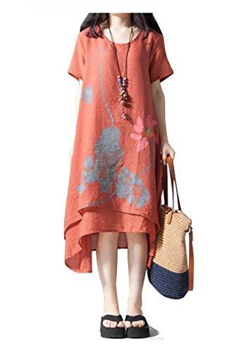 雄大な足枷作りレディース 夏 ワンピース ロング丈 半袖 体型カバー 花柄 ゆったり 大きいサイズ