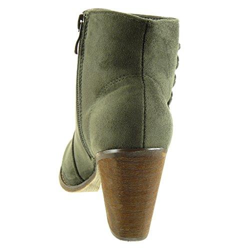 Angkorly - Scarpe da Moda Stivaletti - Scarponcini cavalier donna lacci Tacco a blocco tacco alto 8 CM - Verde
