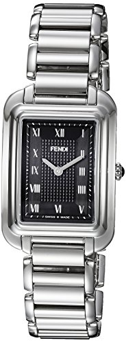 Fendi Women's 'Classico Rect' Swiss Quartz Stainless Steel Dress Watch, Color:Silver-Toned (Model: F701031000)