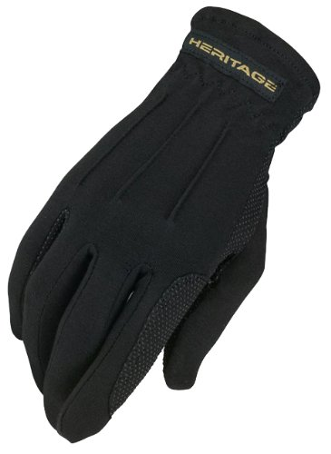 Heritage Power Grip Gloves, Size 7/8, Black