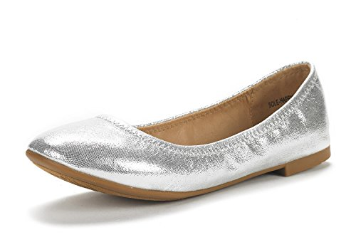 (DREAM PAIRS Women's Sole Happy Silver Ballerina Walking Flats Shoes - 8 M US)