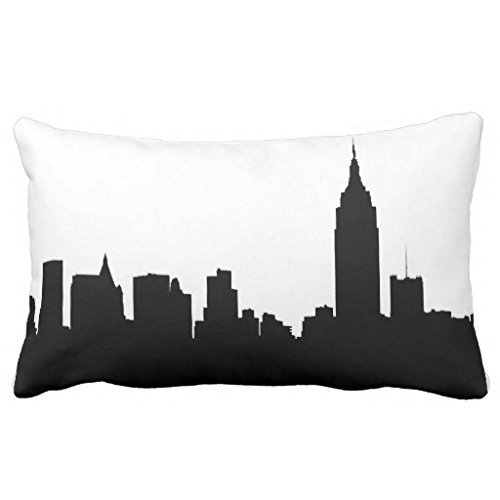 PocaBlife Pillowcase Standard Decorative NYC Skyline Silhouette, Empire State Bldg #1 Bedding Pillow Cases 12x20 Inches ()