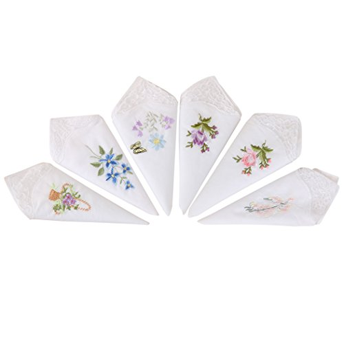 Fascigirl Womens Handkerchief, 6 PCS Pocket Hanky Cotton Embroidered Pocket Square Handkerchief