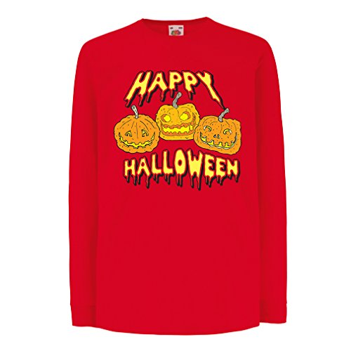 (T-Shirt for Kids Happy Halloween! Party Outfits & Costume - Gift Idea (3-4 Years Red Multi)