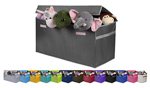 JUMBO Collapsible Toy Chest for Kids (XX-Large) Toy Organizer, Huge Storage Basket w/ Flip-Top Lid | Organizer Bin for Bedrooms, Closets, Child Nursery | Store Stuffed Animals, Games, Clothes, Shoes