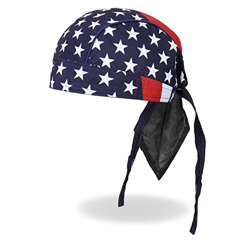 Hot Leathers Authentic Bikers Premium Headwraps, AMERICAN FLAG - High Quality Micro-Fiber & Mesh Lining - Biker Headwrap