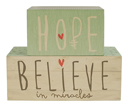 Hope Believe in Miracles Vintage Wallpaper 5 x 6 Wood Block Table Top Plaque Sign