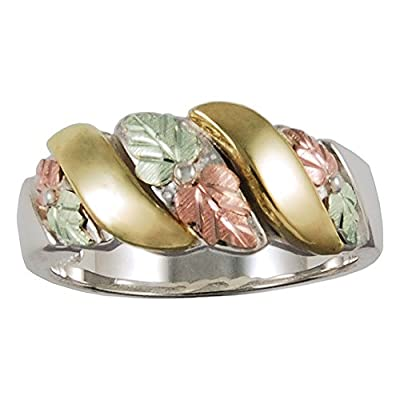 hot Black Hills Ladies Ring in Sterling Silver with 10k and 12k Gold Accents