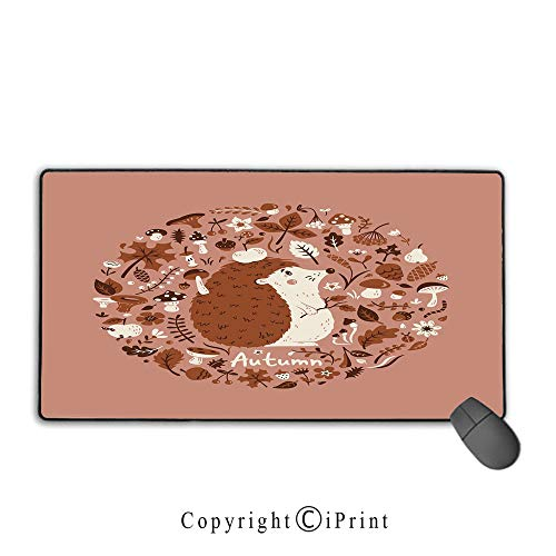 "Large Mouse pad,Hedgehog,Autumn Theme Animal Image with Many Season Elements Pine Cone Leaves Soft Colors,Coral Brown,Premium Textured Fabric, Non-Slip Rubber Base Mouse pad with Lock,9.8""x11.8""inch"