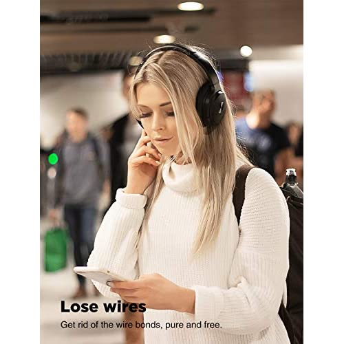 COWIN SE7 Active Noise Cancelling Headphones Bluetooth Headphones Wireless Headphones Over Ear with Mic/Aptx, Comfortable Protein Earpads 30H Playtime, Foldable Headphones for Travel/Work - Black