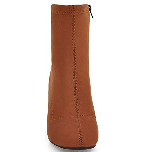 TAOFFEN Brown Boots With Women's Zipper 6wxUq8vPS