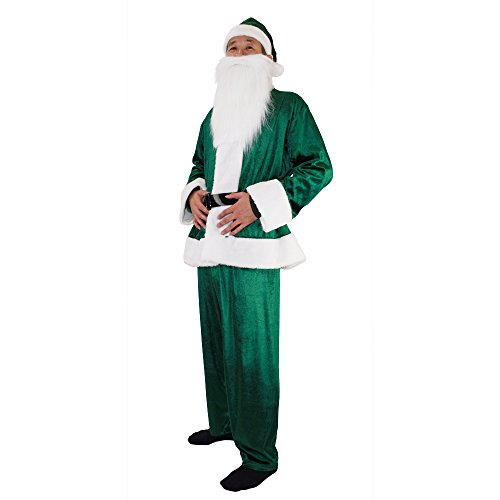 PATYMO Men's Velvet Santa Claus Costume - Waist fits up to About 39 inch (Green) -