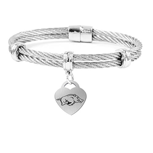 College Jewelry Arkansas Razorbacks Charm Bracelet | Stainless Steel Magnetic Clasp Bangles