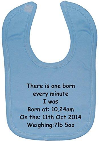 3 Heure Every Born Avec Bavoir Minute Velcro De Naissance Bleu nbsp;ans Date 0 Environ Et nbsp;à Personnalisée Attaché One Bébé Nom Uwdq78w5