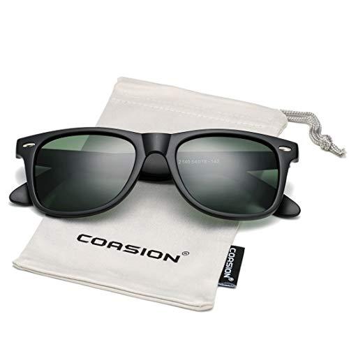 COASION Classic Polarized Sunglasses for Men Women Retro UV400 Brand Designer Sun Glasses (Matte Black Frame/G15 ()