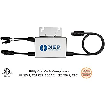 NEP Solar Grid-tie Inverter, Micro Inverter, 110/120V Low Voltage Output, Takes upto 285W DC Solar Power, UL-1741 compliant, MicroInverter 25-Years Warranty