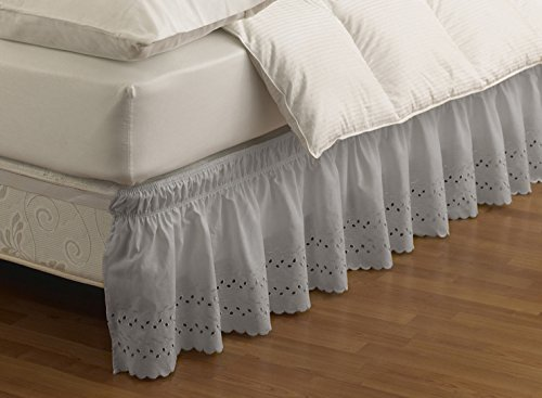 EasyFit 11578BEDDTFUGRE Wrap Around Eyelet Ruffled Twin/Full Bed Skirt 75-Inch by 39-Inch with 15-Inch drop, Grey - Homestyles Twin Bed