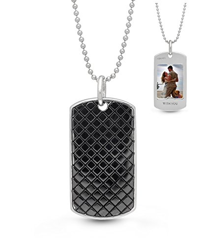 With You Lockets-Sterling Silver-Oxidized-Dog Tag-Custom Photo Locket Necklace-Men's-24-inch chain-The Walter - Dog Tag Locket
