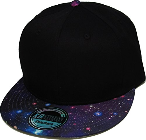 (KNW-1469GX BLK-PUR Galaxy Print Brim Snapback Hat Cap)