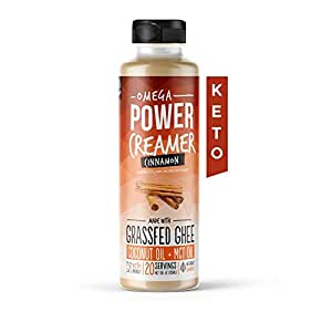 Omega PowerCreamer - Cinnamon Keto Coffee Creamer with MCT Oil - Grass-fed Ghee, Organic Coconut Oil, Stevia Powder   Liquid Blend   Supports Weight Loss & Energy   Low Carb, Sugar Free (20 Servings)