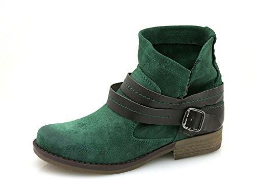 Kathamag Lederstiefelette Stiefelette Lederboots Boots Wildleder 3 Farben 701 Esmeralda