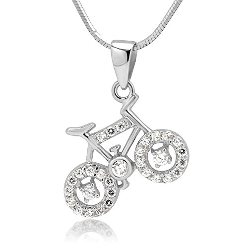 Chuvora Rhodium Plated 925 Sterling Silver CZ Cubic Zirconia Bicycle Pendant Necklace, 18 inches