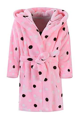 Polka Dot Kids Pajamas - Toddler Girls & Boys Bathrobes,Plush Soft Coral Fleece Robes Hooded Animal Sleepwear Pajamas for Kids Girls (Polka dot, 4T(Fit Height 39