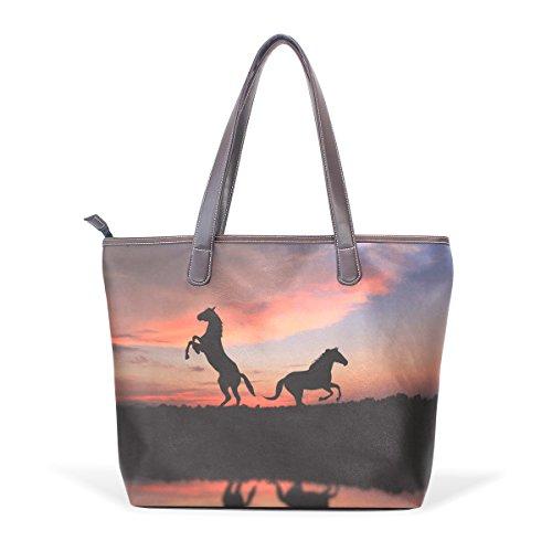 COOSUN Cheval Sous coucher du soleil Grand fourre-tout Sacs à bandoulière PU poignée en cuir Sac fourre-tout M (40x29x9) cm # 003 multicouleur 53k61a