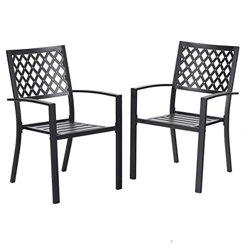 PHI VILLA 2 Piece Patio Wrought Iron Chair Outdoor Dining Set with Armrest – Supports 300 LBS
