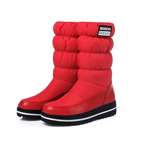 Mid Womens Calf Urethane Boots Pleated Snow BalaMasa Red Boots ABL10604 tCd4xqw