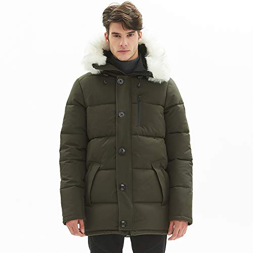 WenVen Mens Thicken Casual Padded Winter Jacket with Hood