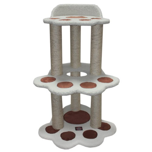 Majestic Pet Products 37.5 inch Cream Bungalow Cat Furniture Condo House Scratcher Multi Level Pet Activity Tree ()