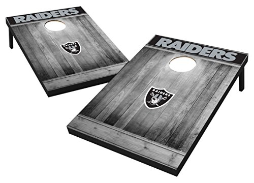 Wild Sports 2'x3' MDF Wood NFL Oakland Raiders Cornhole Set - Grey Wood Design
