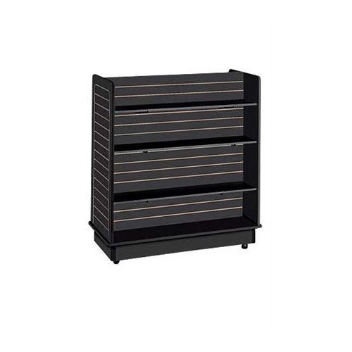 New Retails Black Finished Slatwall Gondola with 6 Shelves - 24'' X 48'' X 48'' by Slatwall Gondola with 6 Shelves