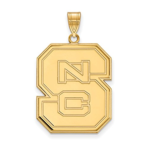 14k Yellow Gold LogoArt Official Licensed Collegiate North Carolina State University (NCSU) XL Pendant by Logo Art