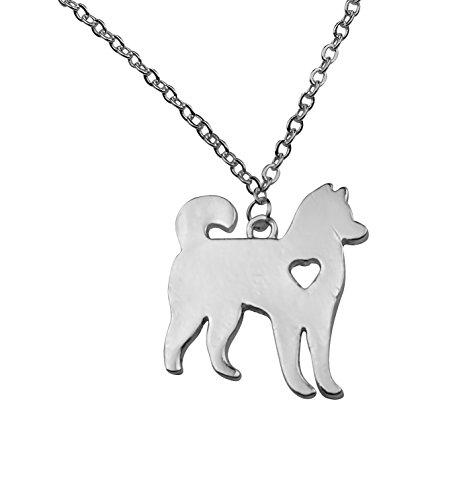 Silvertone I Love My Dog Lover Heart Outline Siberian Alaskan Malamute Akita Husky Pet Puppy Rescue Pendant (Alaskan Malamute Siberian Husky)