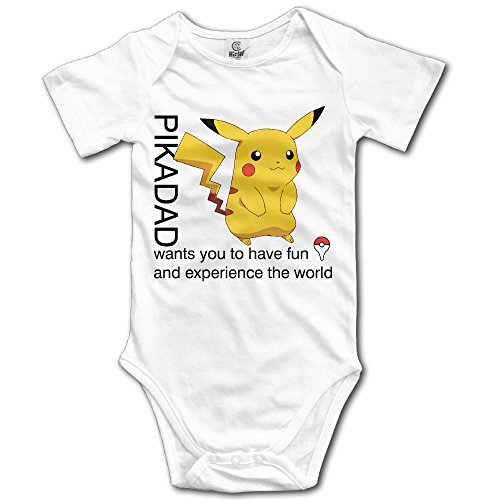 Price comparison product image Ogbcom Baby's Pokemon Go Pikachu Hanging Bodysuit Romper Playsuit Outfits Clothes Climbing Clothes Short Sleeve White