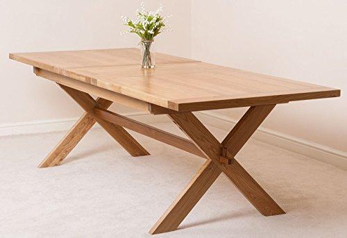 Vermont Solid Oak Cross Legged Extending Dining Table (200 cm - 240 cm E)