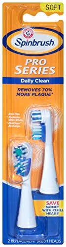 Spinbrush Pro Series Daily Clean Battery Toothbrush Refills, Soft