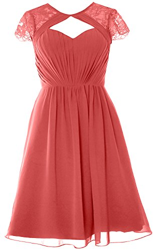 Wassermelone Party Gown Short Dress Sleeves Cap MACloth Wedding Elegant Bridesmaid Formal 0FZwnzvq
