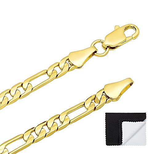 The Bling Factory 4mm 14k Gold Plated Flat Figaro Link Chain + Microfiber Jewelry Polishing Cloth