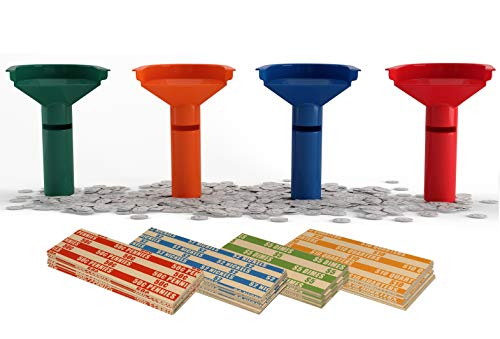 Easy Wrap Coin Stacking Tubes with 250 Coin Wrappers - Funnel Shaped Color-Coded Coin Roll Sorting Tubes