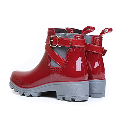 Waterproof Rain Fashion Ankle Heel Red Block Women's Boots vgRqx
