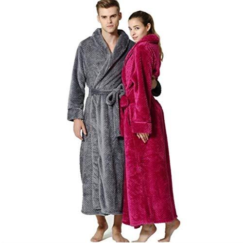 Ropa Tipo Albornoz Franela Coat Grey Camisón Saoye Nner Men Espesado Long Fashion Robe Sauna Sólido Color YxwPqfF