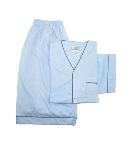 Ten West apparel mens cotton yarn dyed short sleeve short leg pajamas set in solid colors -Lt-Blue-XX-Large