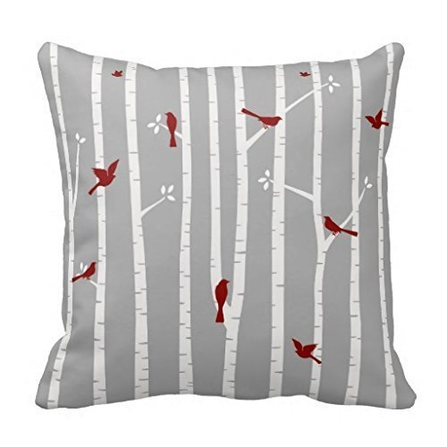 - Shower Curtain Birds in Birch Trees Red White Grey #147 Cotton Linen Decorative Throw Pillow Case Cushion Cover 18