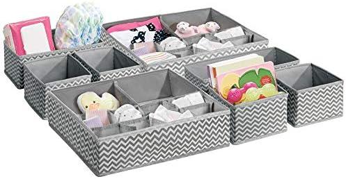mDesign Juego de 8 Cajones organizadores para artículos de bebé, mantas, medias y más- Organizador para bebe grande – También como caja organizadora para pañales o medicamentos – gris/crema: Amazon.es: Hogar