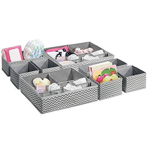 mDesign Soft Fabric Dresser Drawer and Closet Storage Organizer Set for Child/Kids Room, Nursery - Includes Organizer Bins in 3 Sizes - Chevron Zig-Zag Print, Set of 8 - Gray/Cream ()