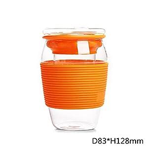 (NEW)-Tazza di acqua di vetro alta-borosilicato di 2pcs 450ml, tazza creativa del regalo, tazza della bevanda della tazza di vetro, orange