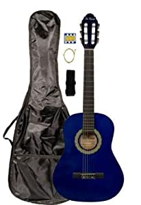36 inch 3 4 scale size blue student beginner acoustic guitar with carrying case. Black Bedroom Furniture Sets. Home Design Ideas